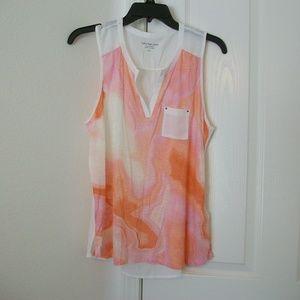 Calvin Klein Jeans Orange and White Tank Top